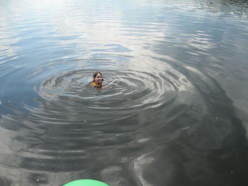 Claire swimming